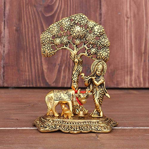 Chhariya Crafts Metal Krishna with Cow Standing Under Tree Plying Flute Decorative Showpiece – 17 cm (Metal, Gold) (Gold…