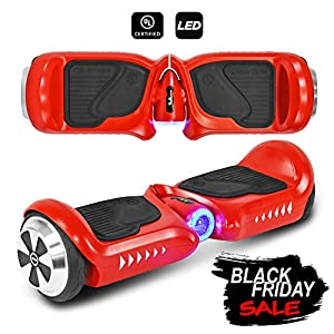 CHO Electric Self Balancing Dual Motors Scooter Hoverboard with Built-in Speaker and LED Lights - UL2272 Certified (4.5 Inch Wheels (No Speaker) Red)