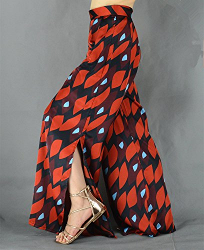 YSJ Women's Long Palazzo Pants Split Maxi Culottes Wide Leg Trousers (8-10, Red) by YSJ (Image #3)