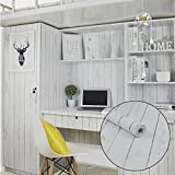 SimpleLife4U White Wood Grain Contact Paper Nordic Style Self-Adhesive Shelf Liner Locker Sticker 17.7 Inch By 9.8 Feet