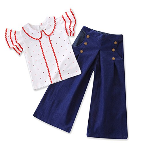 Girls 70s Clothes (Toddler Baby Girls Polka Dot Ruffle Sleeve Tops Flare Denim Clothes Outfit Set (Blue, 100/Fit)