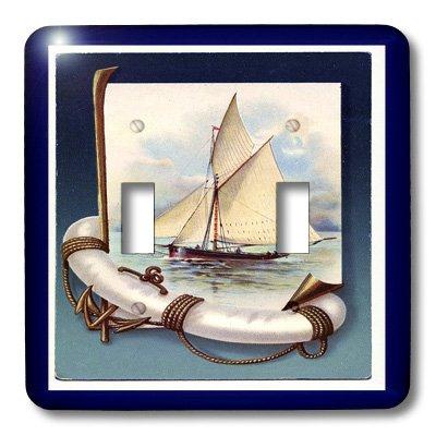 3dRose LLC LSP _ 44760_ 2Vintage velero y ancla doble interruptor de palanca, con marco de color azul marino