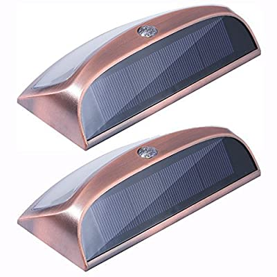 Mecci,Solar Power Outdoor Led Lights,Solar Smiling Wall Lights, Wireless Security Step Light Night Lamps auto Off for Stair, Garden, Doorway, Outside Wall Pack of 2 Cool White,Copper