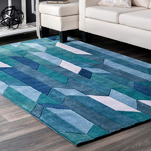 nuLOOM Contemporary Handmade Color Block Panels Area Rugs, 4′ x 6′, Blue