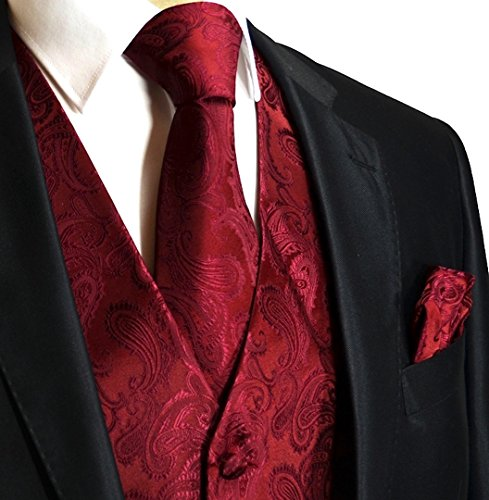 (Men's 3pc Paisley Design Dress Vest Tie Handkerchief Set For Suit or Tuxedo (XS (Chest 39),)