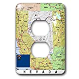3dRose Lens Art by Florene - Topo Maps, Flags of States - Image of Nevada Topographic Map With State Flag - Light Switch Covers - 2 plug outlet cover (lsp_291416_6)