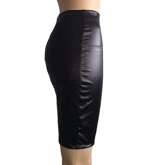 Amazon.com: Faldas de piel sintética de cintura alta para ...