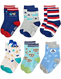 RB-71317 Non Skid Anti Slip Slipper Cotton Crew Socks With Grips For Baby Toddler Boys