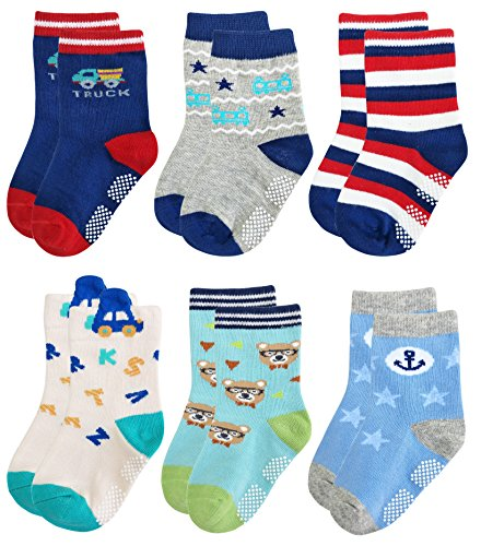 Crew Kids Glove (Deluxe Non Skid Anti Slip Slipper Cotton Crew Socks With Grips For Baby Toddler Boys (3-9 Months, 6-pairs/assorted))