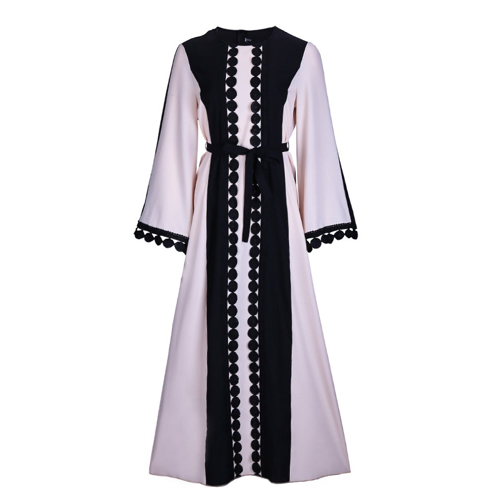 Fancyqube Women's Elegant Muslim Kaftan Dubai Islamic Abayas Long Sleeve A Line Maxi Dress with Belt Black S