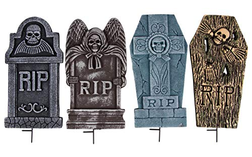 Halloween Tombstones - 4-Set Fake Cemetery Yard Decoration, Graveyard RIP Skull Headstone Foam Sign, Theme Party Supplies, for Indoor Outdoor Lawn Props, Plastic Stakes Included, 8 x 16 x 0.5 Inches