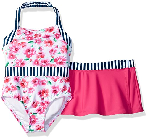 Tommy Bahama Girls' Toddler 1-Piece Swimsuit and Sarong, Floral White, 2T (Toddler Girls Swim Skirt)