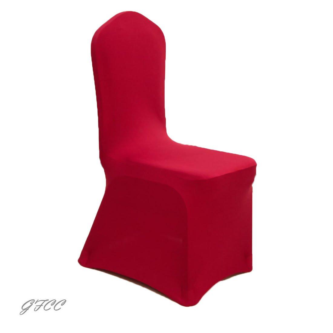 gfccのセット50個レッドカラースパンデックス椅子カバーは、結婚式、パーティー、宴会、クリスマス  B06XQHCL2C