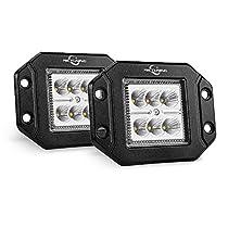 MICTUNING 2PCS 18W Flood LED Work Light, 1500LM Flush Mount Driving Light Bar Offroad Fog Lamp for 4X4 Jeep ATV UTV Truck Boats