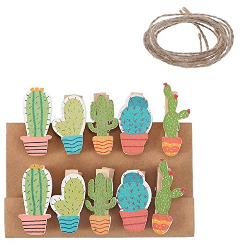RAYNAG 50 Pieces Cactus Shaped Wood Craft Clothespins Mini Clothes Pins Photo Clips Paper Peg with Jute -
