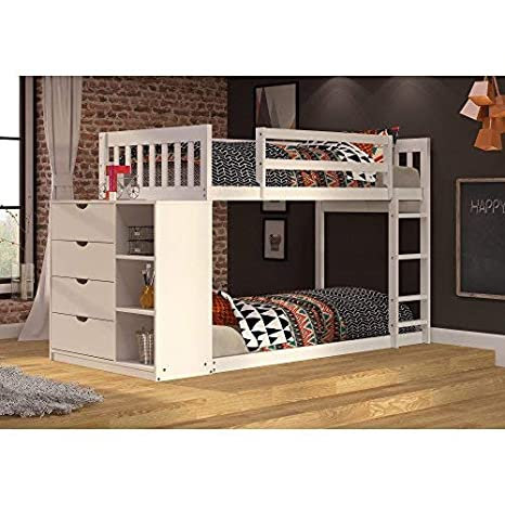 Donco Kids 1600TTW Mission Chest Bunkbed, Twin, White