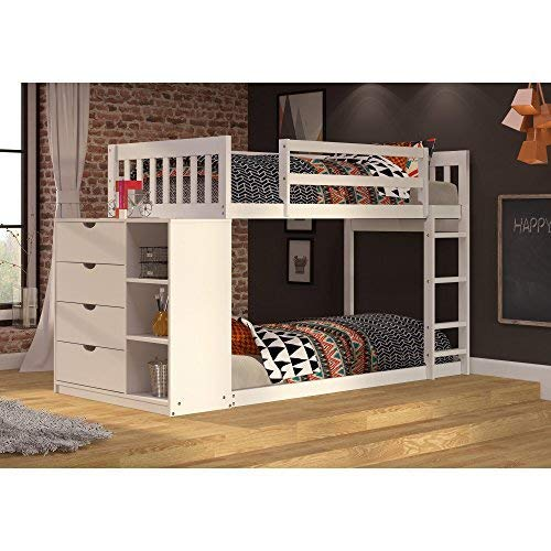 (Donco Kids 1600TTW Mission Chest Bunkbed, Twin, White)