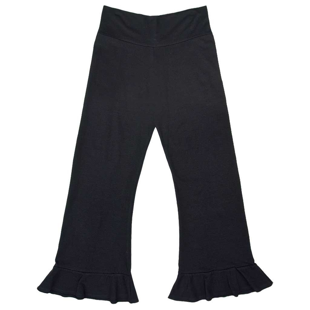 Women's Organic Cotton Full-Length Ruffle Hem Black Topanga Pirate Festival Pants - DeluxeAdultCostumes.com