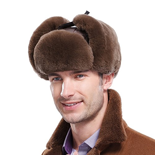 URSFUR Men's Rex Rabbit Fur Trapper Hat (One Size, Coffee)