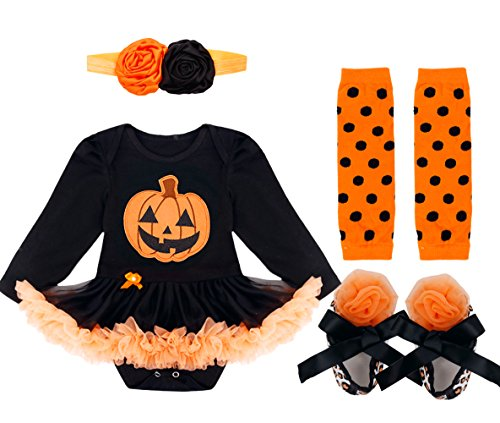 YiZYiF Baby Girl's Halloween Party Costumes Pumpkin Outfit 4Pcs Tutu Dress Up Pumpkin Black #2 9-12 (Baby Pumpkin Halloween Outfits)