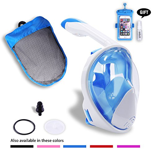 AOLAIS Third Gerneration 180°View Panoramic Full face Snorkel Mask for Adults and Kids,Anti-Fog Anti-Leak Design Easy Breathe Snorkeling Mask Set (White+Blue, L/XL)