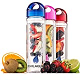#1 Fruit Infused Water Bottle + Silicone ice ball maker- Best Infuser Made of Tough High Quality Eastman Tritan Material - Easy To Use - 100% Satisfaction Guarantee (Blue)