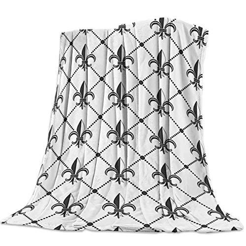 SODIKA Flannel Fleece Luxury Throw Blanket,Lightweight Cozy Couch Bed Super Soft and Warm - Ethnic Lily Pattern Classic Retro Royal Vintage European Iris Ornamental Artwork (50 x 60 -