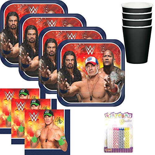 WWE Wrestling Party Plates Napkins and Cups Serves 16 with Birthday Candles - WWE Party Supplies Pack (Bundle for 16)