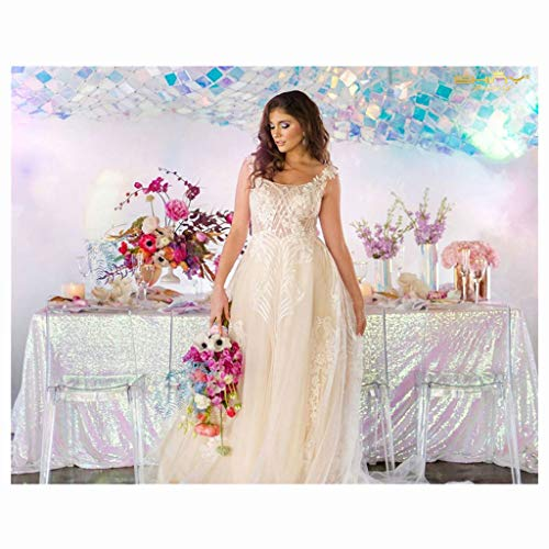 Iridescent White Tablecloth 90x132-Inch Rectangle Multicolor White Sequin Table Cloth 6FT to The Floor Transparent White Elegant Tablecloth -0807S