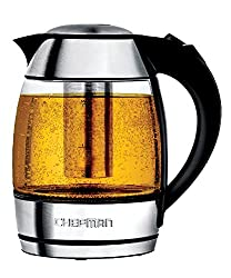 Chefman Electric Cordless Glass Tea Kettle With Free Included Tea Infuser Led Lighting, Perfect Steep & Auto-shutoff Safety Feature, 1.8 Liter1.9 Quart - Rj11-17-ti