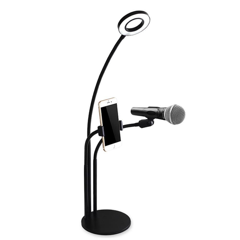 AOKARLIA LED Selfie fill Lights Lazy Clip, Webcast Bright Artifact/USB/Adjustable Cell Phone Holder for Live Stream,Video Chat, Facebook, Makeup, YouTube, A
