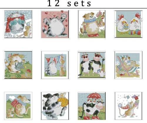 Zamtac Top Quality Lovely Counted Cross Stitch Kit Margaret Sherry Cats Cat Dog Chicken Cow Mouse Animal - (Cross Stitch Fabric CT Number: 16CT unprint Canvas) ()