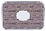 Simply Baked Large Baking and Take-out Pan, Disposable, Oven & Freezer Safe Foil Pan with Paper Lid (pack of 4), Faux Wood Grain Lid, 12'' x 8'', 66 oz. capacity