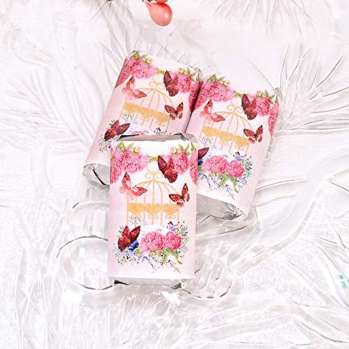 54 Fuchsia Candy Labels, Fuchsia Wedding Stickers, Fuchsia Butterflies Baby Shower Candy - Candy Fuchsia