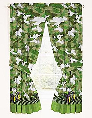 John Deere Green Tractor Window Panels / Curtains / Drapes - Set of 2