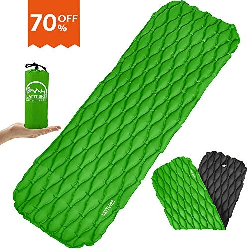 LATTCURE Inflatable Sleeping Pad Lightweight Compact Comfy Waterproof Air Camping Mat - Best Kit with Sleeping Bag Hammock Tent for Picnic Backpacking Travel Hiking Camping and Other Adventures-Green