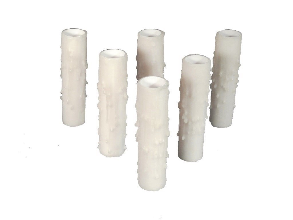 Set of 6 pc. 3'' Tall Cream Candelabra Base 3/4'' Inner Diameter Thin Base Beeswax Candle Covers, Socket Sleeves