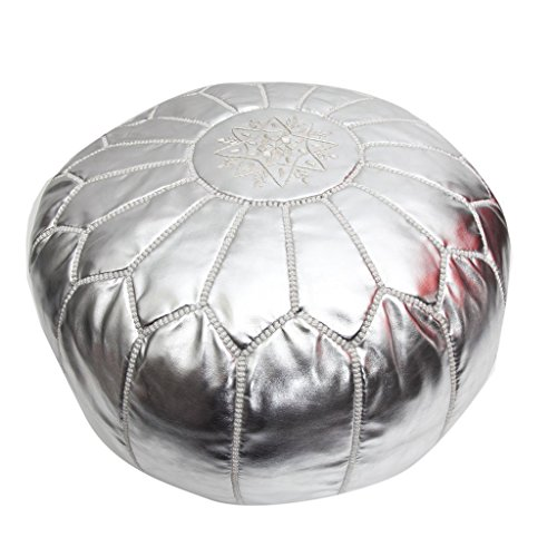 Atlas Moroccan Silver Metallic Pouf (Metallic Traditional Chair)
