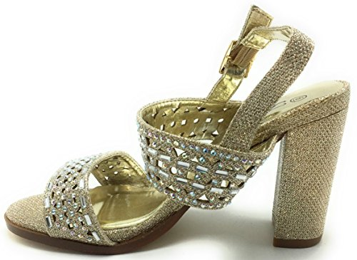 Toe Round Strapy Rhinstons Sandals Peep Jain Chunky Open Buckle Champagne Heel Block DEV Glitters Women's High 17 0qnP5778