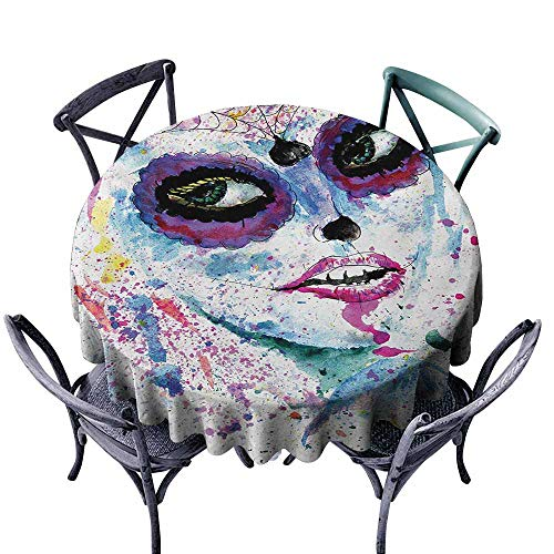 VIVIDX Waterproof Table Cover,Girls,Grunge Halloween Lady with Sugar Skull Make Up Creepy Dead Face Gothic Woman Artsy,High-end Durable Creative Home,70 INCH,Blue Purple