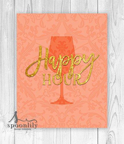 Happy Hour Bridal Shower Typography Art Print