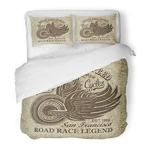 Emvency 3 Piece Duvet Cover Set Brushed Microfiber Fabric Breathable Old Vintage Motorcycle San Francisco America Antique Biker Car Classic Club Bedding Set with 2 Pillow Covers King (San Francisco Giants Comforter)