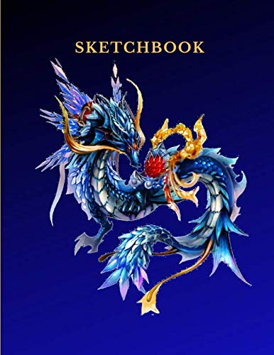 Sketchbook: A Blue Dragon Monster Themed Personalized Artist Sketch Book Notebook and Blank Paper for Drawing, Painting Creative Doodling Or Sketching.