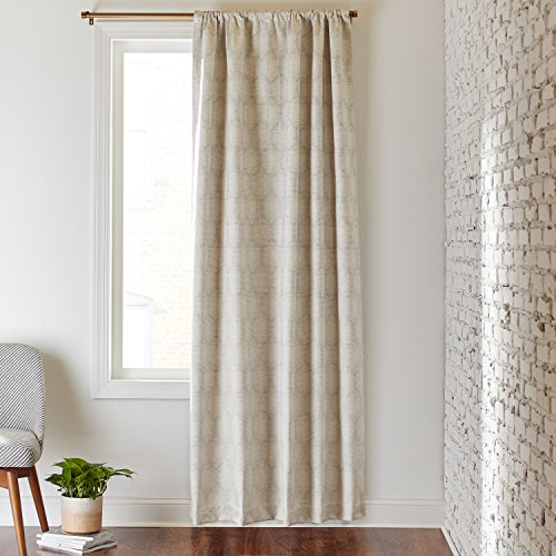 - Rivet Blackout Modern Geometric Linen Cotton Curtain, One Panel,  52