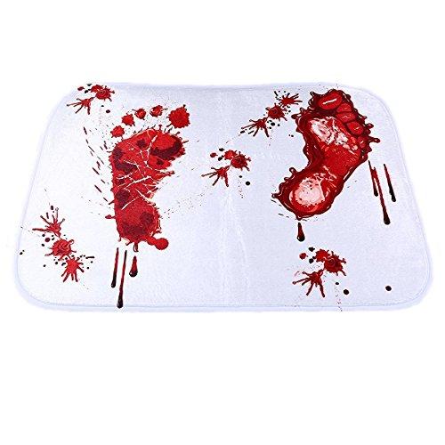 Price comparison product image Bloody Shower Mat,  Petforu Bloody Footprint Polyester Door Floor Mats Kitchen Rugs Mats Carpet