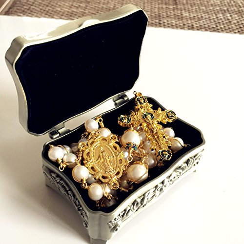 elegantmedical Handmade Rosary Plated Gold Wire Wrapped Bead AAA+ White Real Pearl Catholic Necklace Cross Gift Box by elegantmedical (Image #2)