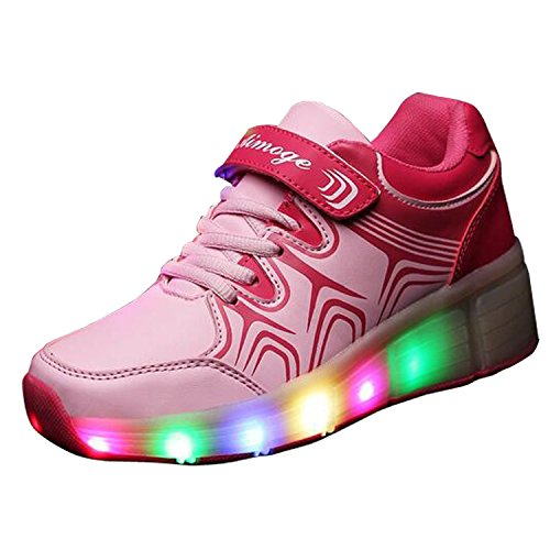 Hot Sell Christmas Kid Youth Girl Boy Light Up Wheels Roller Shoes Skates Sneakers Pink white12 (foot length 180mm) (Buzz Lightyear Shoes)
