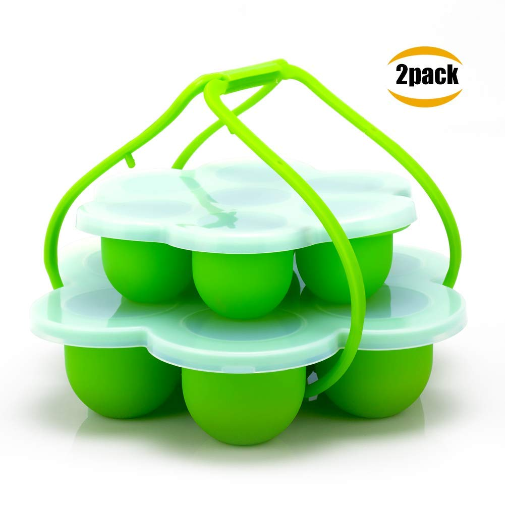 Silicone Egg Bites Molds for Instant Pot Accessories, Small Silicone Mold with Lid Handle Fits Instant Pot 5, 6, 8 qt Pressure Cooker, Freezer Accessory, Sous Vide Egg Poacher Ring (Green)