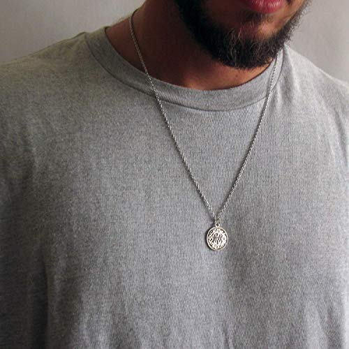 """Mens Silver Plated Celtic Coin Necklace, Length: 24"""" + 2"""" extender chain"""