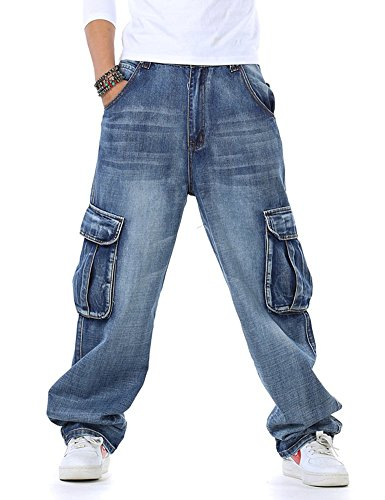 Idopy Casual Motorcycle Workwear Multi Pockets Denim Biker Cargo Jeans Pants (W38, Light Blue) ()